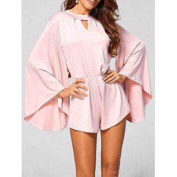 Cut Out Flare Sleeve Fitting Romper