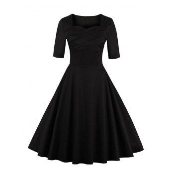 Vintage Sweetheart Neck Short Sleeve Pin Up Dress
