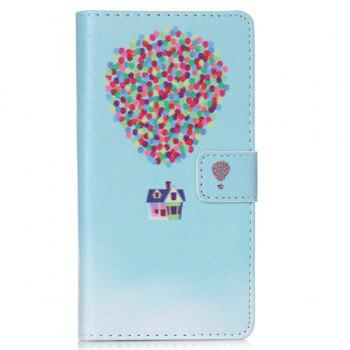 For Huawei P8 Lite Balloon PU Leather Wallet Flip Cover Phone Case - BLUE BLUE