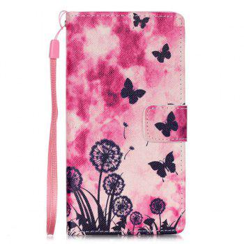 Butterfly PU Leather Wallet Card Holder Flip Cover For Huawei P8 Lite - PINK PINK