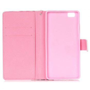 Butterfly PU Leather Wallet Card Holder Flip Cover For Huawei P8 Lite -  PINK