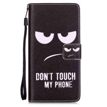 Angry Eyes PU Leather Wallet Card Holder Flip Cover For Huawei P9 Lite - BLACK BLACK