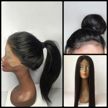 Long Straight Lace Front Middle Parting Human Hair Wig - BLACK BLACK