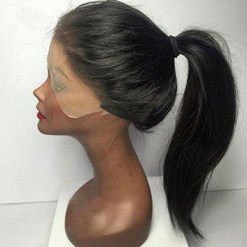 Long Straight Lace Front Middle Parting Human Hair Wig -  BLACK