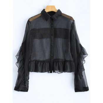 Ruffled Sheer Crop Shirt