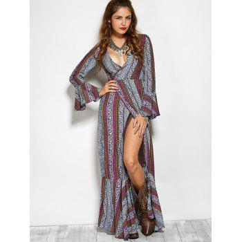 Plunging V Neck Printed Maxi Bohemian Dress