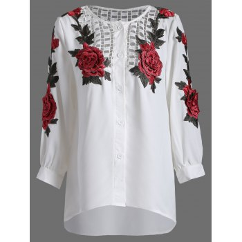 Openwork Rose Embroidery Blouse