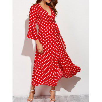 Christmas Polka Dot Maxi Wrap Flowing Dress
