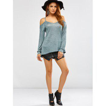 Long Sleeve Cold Shoulder T-Shirt - GREEN L