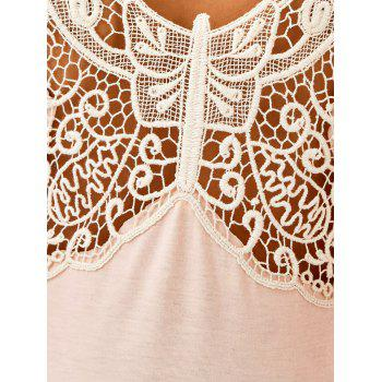Butterfly Pattern Flare Sleeve T-Shirt - SHALLOW PINK M