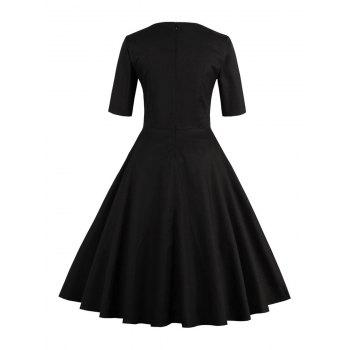 Vintage Sweetheart Neck Flare Pin Up Dress - S S