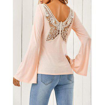 Butterfly Pattern Flare Sleeve T-Shirt - SHALLOW PINK SHALLOW PINK