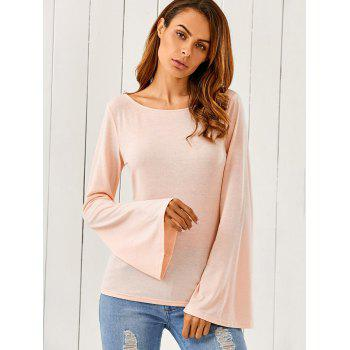 Butterfly Pattern Flare Sleeve T-Shirt - SHALLOW PINK L
