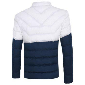 Two Tone Zip Up Padded Jacket - BLUE 2XL