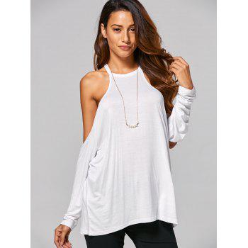 Cold Shoulder Loose-Fitting T-Shirt - WHITE WHITE