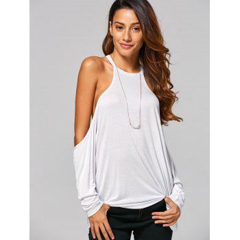 Cold Shoulder Loose-Fitting T-Shirt - WHITE M