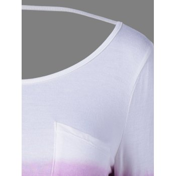 Ombre Color Pocket Tee - WHITE/PURPLE M