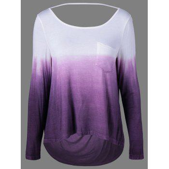 Ombre Color Pocket Tee - WHITE AND PURPLE WHITE/PURPLE