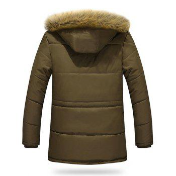 Zippered Multi Pocket Faux Fur Hooded Flocking Jacket - COFFEE L