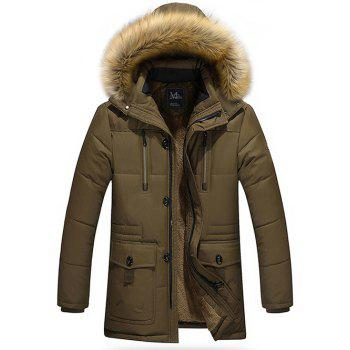 Zippered Multi Pocket Faux Fur Hooded Flocking Jacket - COFFEE COFFEE