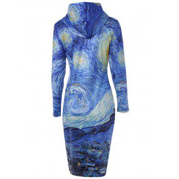 Hooded 3D Print with Pocket Dress - BLUE M