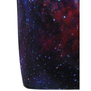 Drawstring Hooded 3D Galaxy Print Dress - BLUE M