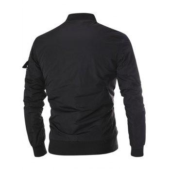 Stand Collar Appliques Zip-Up Thicken Jacket - BLACK L