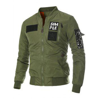 Stand Collar Appliques Zip-Up Thicken Jacket - ARMY GREEN ARMY GREEN