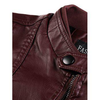 Stand Collar Zipper Embellished PU-Leather Flocking Jacket - WINE RED WINE RED