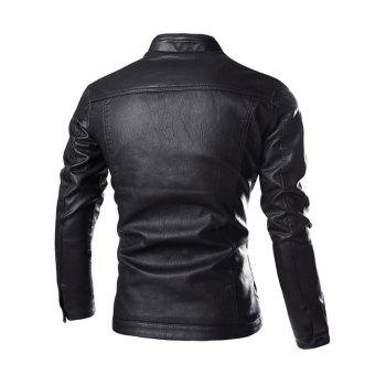 Stand Collar Zipper Embellished PU-Leather Flocking Jacket - BLACK BLACK