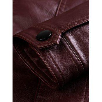 Stand Collar Zipper Embellished PU-Leather Flocking Jacket - WINE RED M