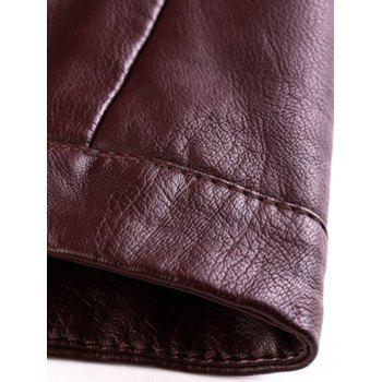 Stand Collar Zipper Embellished PU-Leather Flocking Jacket - WINE RED 2XL