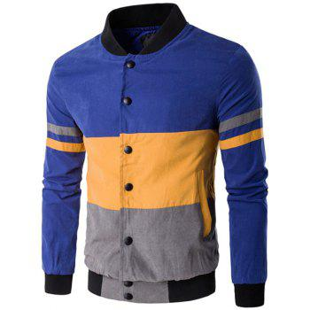 Snap Button Up Color Matching Striped Jacket - BLUE BLUE