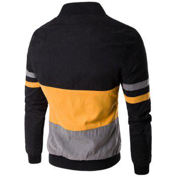 Snap Button Up Color Matching Striped Jacket - YELLOW YELLOW