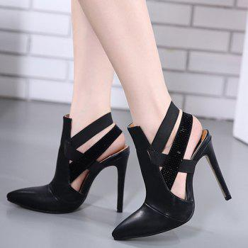 Party Cut Out Stiletto Heel Pointed Toe Pumps - BLACK 38