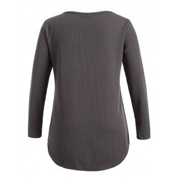 Plus Size Knitwear with Arc Hem - DEEP GRAY XL