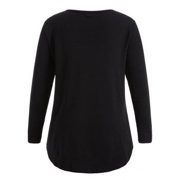 Plus Size Knitwear with Arc Hem - BLACK 2XL