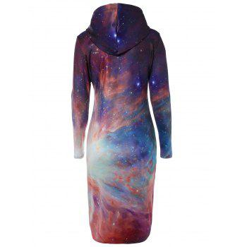 Galaxy Print with Pocket Slimming Dress - COLORMIX COLORMIX