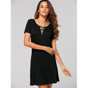 Heart Cut Out Back Casual Dress - BLACK M