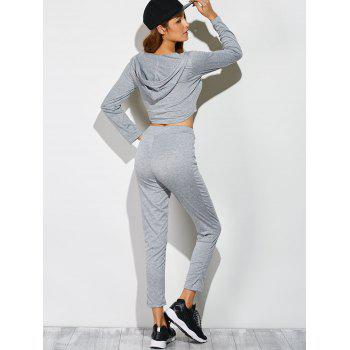 Long Sleeve Crop Top With Pants - GRAY S