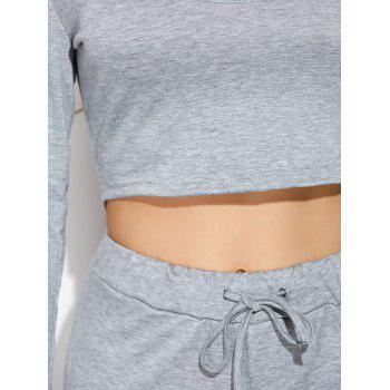 Long Sleeve Crop Top With Pants - GRAY M