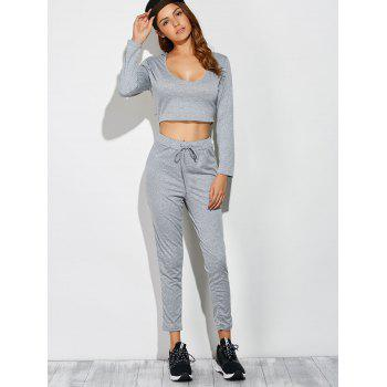 Long Sleeve Crop Top With Pants - GRAY XL