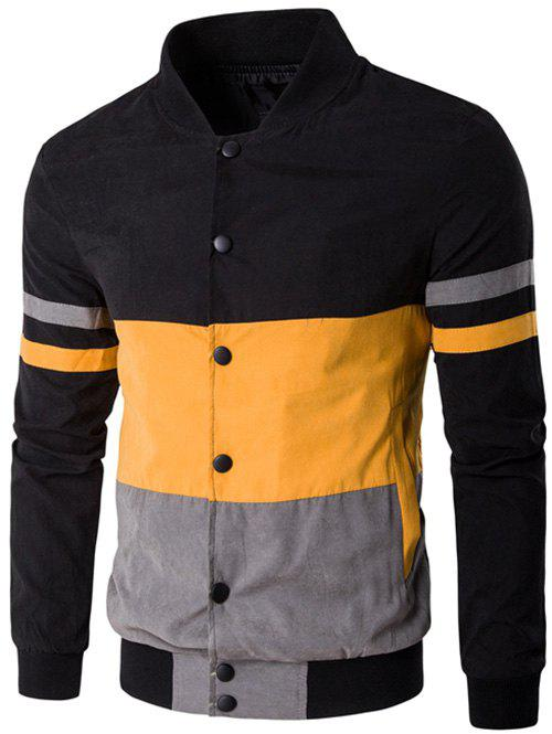Snap Button Up Color Matching Striped Jacket - YELLOW M