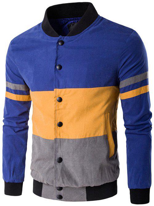 Snap Button Up Color Matching Striped Jacket - BLUE 5XL