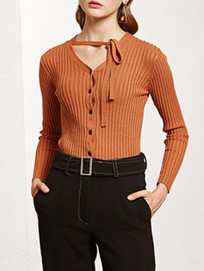 Pullover Buttoned Tied-Up KnitwearWomen<br><br><br>Size: ONE SIZE<br>Color: CAMEL