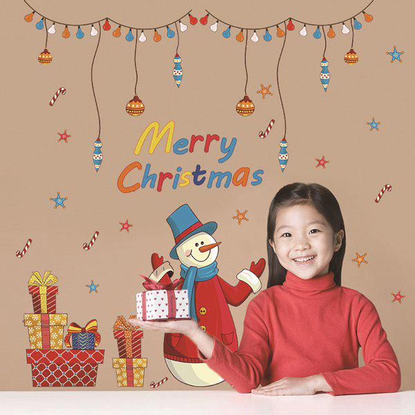 Merry Christmas Snowman Colorful Gifts Removable Wall Stickers removable colorful christmas penguins children s room wall stickers