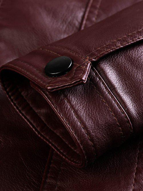 Stand Collar Zipper Embellished PU-Leather Flocking Jacket - WINE RED 3XL