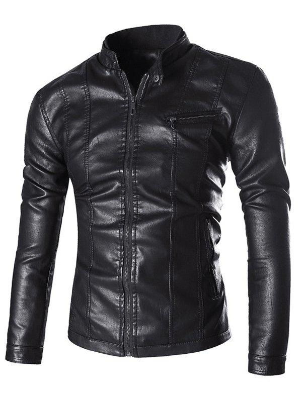 Stand Collar Zipper Embellished PU-Leather Flocking Jacket - BLACK 2XL