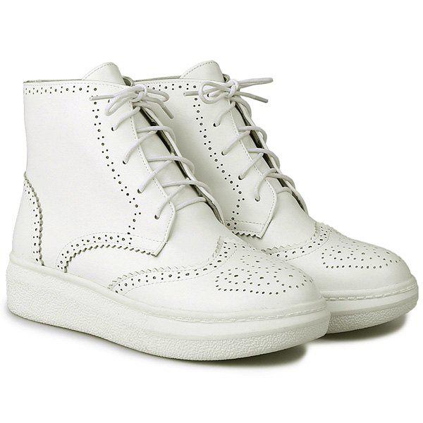 PU Leather Tie Up Engraving Ankle Boots - WHITE 38