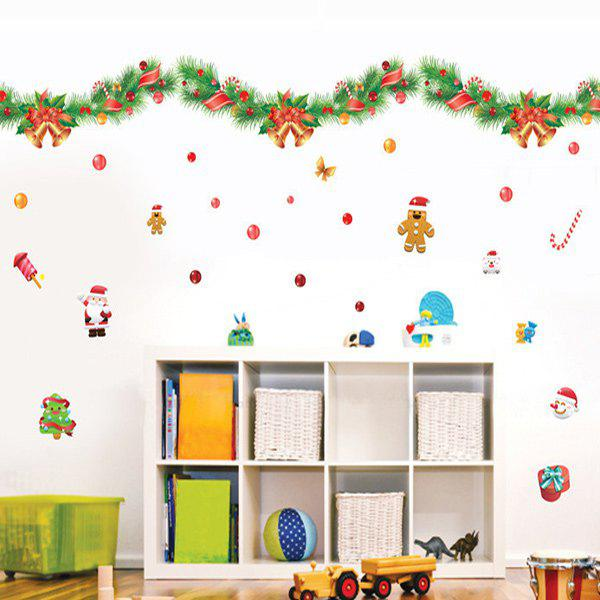 Christmas Colorful Ribbons Removable Glass Window Wall Stickers removable colorful christmas penguins children s room wall stickers